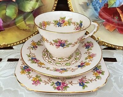 Vintage Tuscan China Made In England 'plant' Floral Trio C1936+