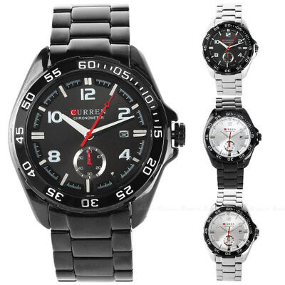 Curren Fashion Casual Men Male Stainless Steel Date Military Sport Quartz Watch
