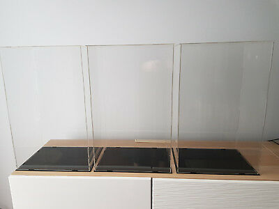 3 x Clear Acrylic Display Case Tall Clear Perspex Box Plastic Dustproof - 52cm H