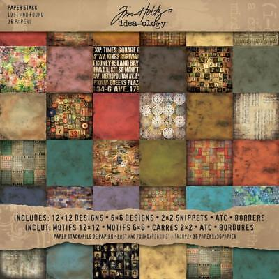 Tim Holtz Idea-Ology Surfaces - Paper Stash 12x12 - Lost and Found - 36 Sheets