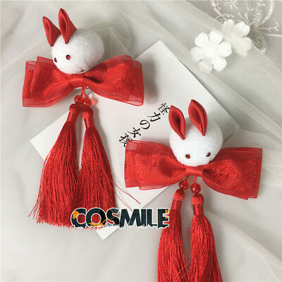 Rabbit Bow Tassel Hair Accessory Fit for Kimono Hanfu Japanese Red Sa