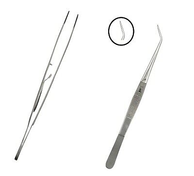 "College Serrated Tweezers Curved With Lock Stain Finish 6"" Dental Instrument"