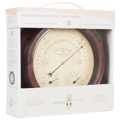 Westminster Antique Rust Effect Barometer & Thermometer 8""