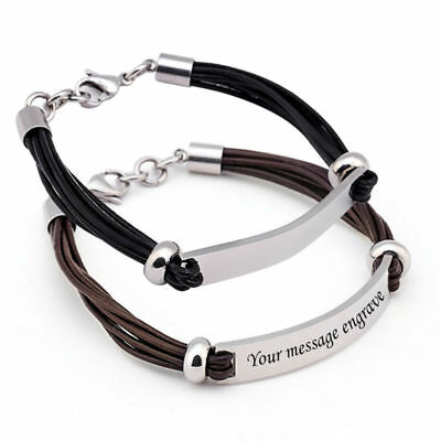 Personalised Mens Leather Bracelet Engraved ID Birthday Wedding Fathers Day Gift