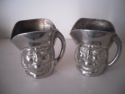 A Vintage Collectable Matching Pair Of Old Silver Plated Toby Jugs 7 cm
