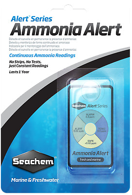 Seachem Ammonia Alert Stick On Aquarium Monitor Test Kit NH4 Fish Tank