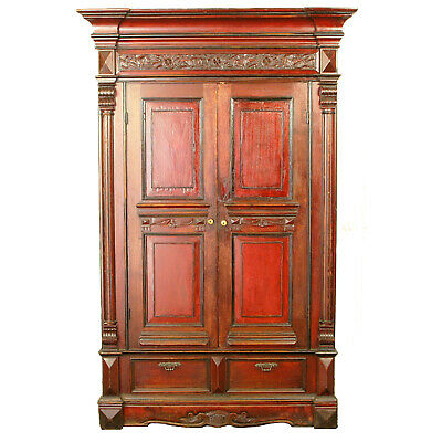 "Unique Antique Chinese Wedding Wardrobe Armoire Cabinet 42"" Wide 76"" Tall"