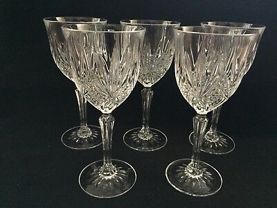 Set/5 Vintage Cut Crystal Stemware Wine Glasses ~ Stunning