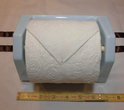 "Vintage *Baby Blue* 1"" Recessed Ceramic Toilet Paper Holder ""NOS""  Glossy"