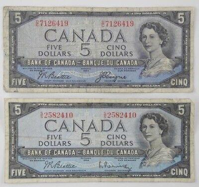 2 x 1954 Bank of Canada 5 Dollar Devil's Face & 5 Dollar Modified Banknote Lot