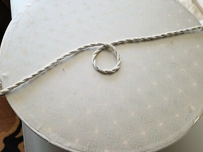 """Vintage Large Hat Box Silver Geometric Design W/Rope Handle--14"""" Round x 7"""" Tall"""