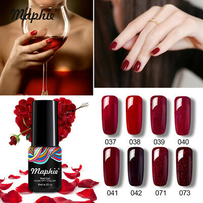 Maphie Set 8Pcs Rojo Series Esmaltes de Uñas en Gel UV LED Manicura Nail Varnish