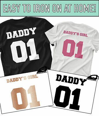 Daddy Daddy's Girl Iron On T Shirt Transfer Fathers Day Dad Daughter Child Vinyl