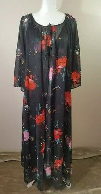 Vintage Intimate Fashions BLK Floral Negligee Nightie Gown with Robe NWT SZ M