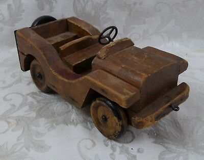 Vintage WW2 Era Wood Carved Trench Art US Army Military Police Jeep Toy