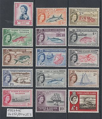 XG-AL785 TURKS & CAICOS ISLANDS IND Definitives,1957 Fish,SG237/50+253 MNH Set