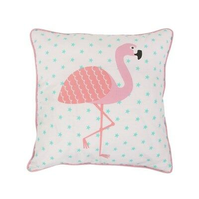 Flamingo Filled Cotton Cushion White Pink and Blue 38 x 38cm