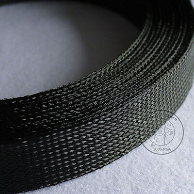 1M New Black Tight Braided PET Expandable Sleeving Cable Wire Sheath