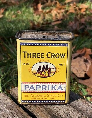 Vintage THREE CROW Atlantic Spice Co. Bangor Maine Paprika Tin Can