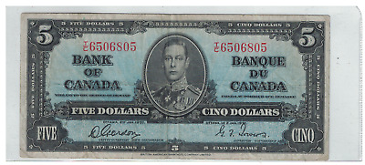 1937 Bank of  Canada $5 Dollar Note T/C Gordon/Towers