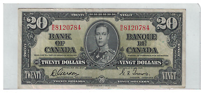 1937 Bank of  Canada $20 Dollar Note B/E Gordon/Towers