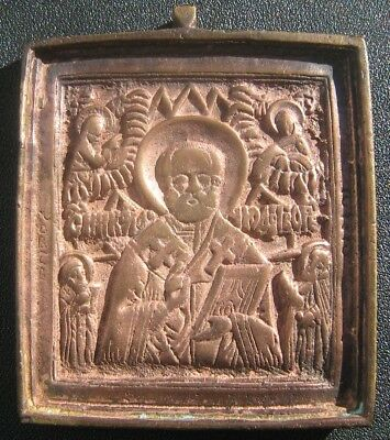Ancient bronze icon St. Nikolai 19th century