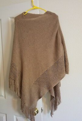 Taupe / light Brown Soft Woven Fringe Poncho Wrap Shawl Cape