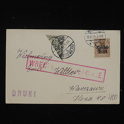 WS-F903 POLAND - Bisect, 1915 Warsaw Local Issue & German Occupation Stamp Cover