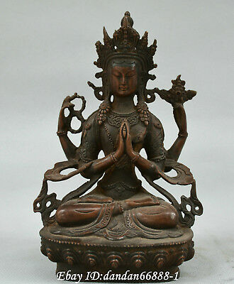 Collect China Tibet Buddhism red copper Bronze Four arms Kwan-yin Guanyin Statue