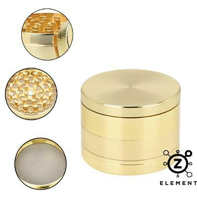 40mm Gold Metal Aluminium Grinder 4 Part Tobacco Herb Crusher Muller Golden EU