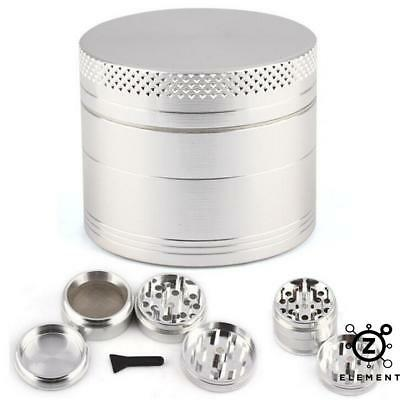 40mm Silver Metal Aluminium Hand Grinder 4 Part Tobacco Herb Crusher Muller EU
