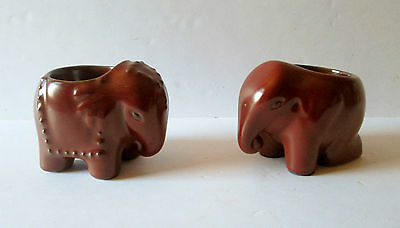 Retired Collectible Partylite Pair Brown Elephant Candle Holders