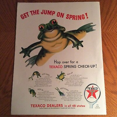 1954 Texaco Print Ad - Get The Jump On Spring - Hop Over For A Spring Check-Up