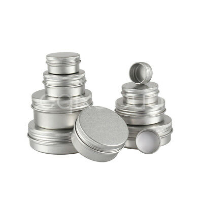 5-100ml Empty Aluminium Cosmetic Pot Jar Tin Container Box Screw Lid Craft