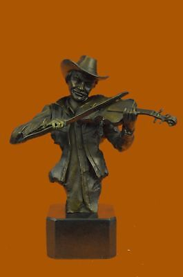 Bronze sculpture of a cowboy playing a fiddle Hot Cast Western Old West ArtDB