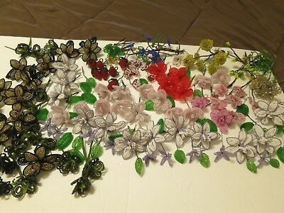 Vintage Lot of Short Stem French Glass Seed Bead Flowers - 100 Plus Flowers