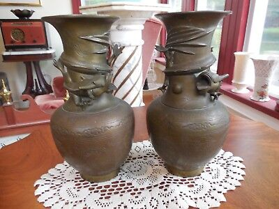 TWO ANTIQUE LARGE CHINESE BRONZE/BRASS VASES WITH DRAGON late 1800's