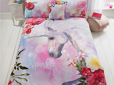 Unicorn Fairytale Sparkle and Shine Pink White Bedding Set Duvet Cover