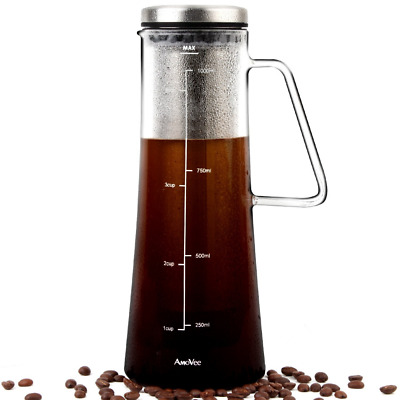1L Cold Brew Coffee Maker Airtight Glass Infuser Pitcher Stainless Steel Filter