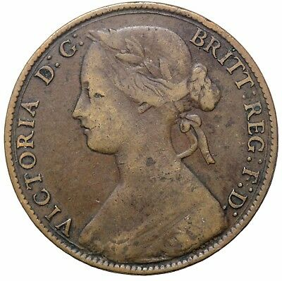 1861 Great Britain One Penny Queen Victoria Coin KM#749.2