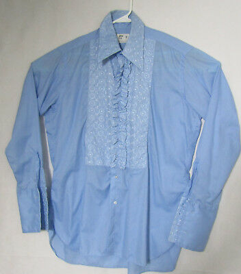 After Six Vintage Blue 70s French Cuff Tuxedo Ruffled Shirt Size 16 1/2 Blue