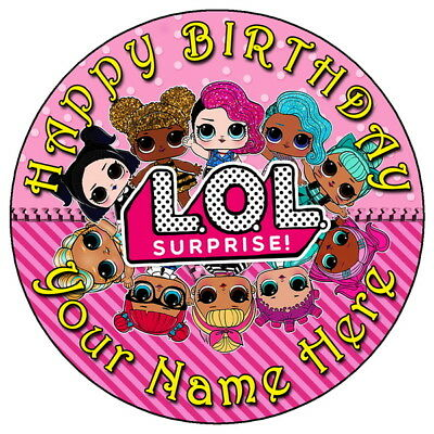 "Lol Surprise Dolls Fun Party - 7.5"" Personalised Round Edible Icing Cake Topper"