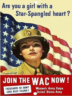 United States Women's Army Corps Recruiting USA Vintage Metal Sign 9x12 WAC