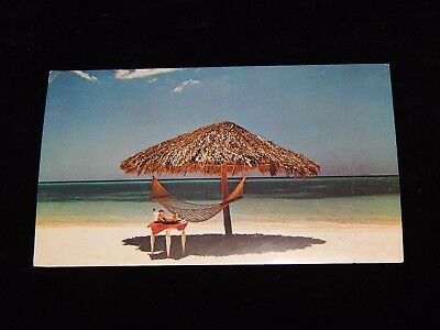 Vintage Postcard,CAT STEVENS FOREIGNER ALBUM COVER,Beach With Umbrella & Hammock