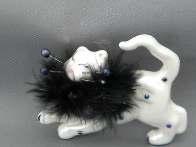 """WhimsiClay """"Glamour Puss Luz"""" Cat Pin-free shipping+helps animals"""