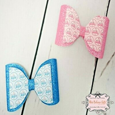 Baby Shower Gender Reveal Surprise Announcement Boy Girl Dog or Cat Collar Bow