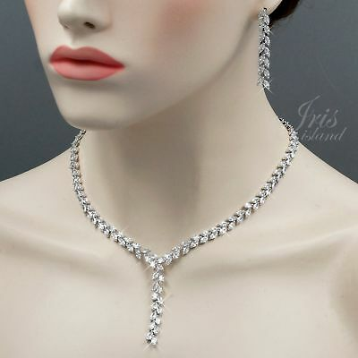 White Gold Plated Clear Cubic Zirconia Necklace Earrings Wedding Jewelry Set 876