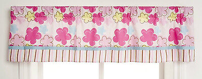 Graco Girl Pink Floral Stripe Woodland VALANCE CURTAIN WINDOW TREATMET 60x14 New