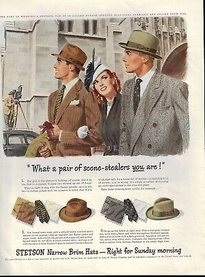 1949 Stetson Hats Easter Parade Illustration Print Ad