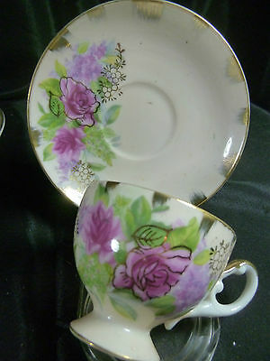 JAPAN BETSON H.P DEMI CUP AND SAUCER PINK ROSES OUTLINED IN GOLD DARLING c1960s